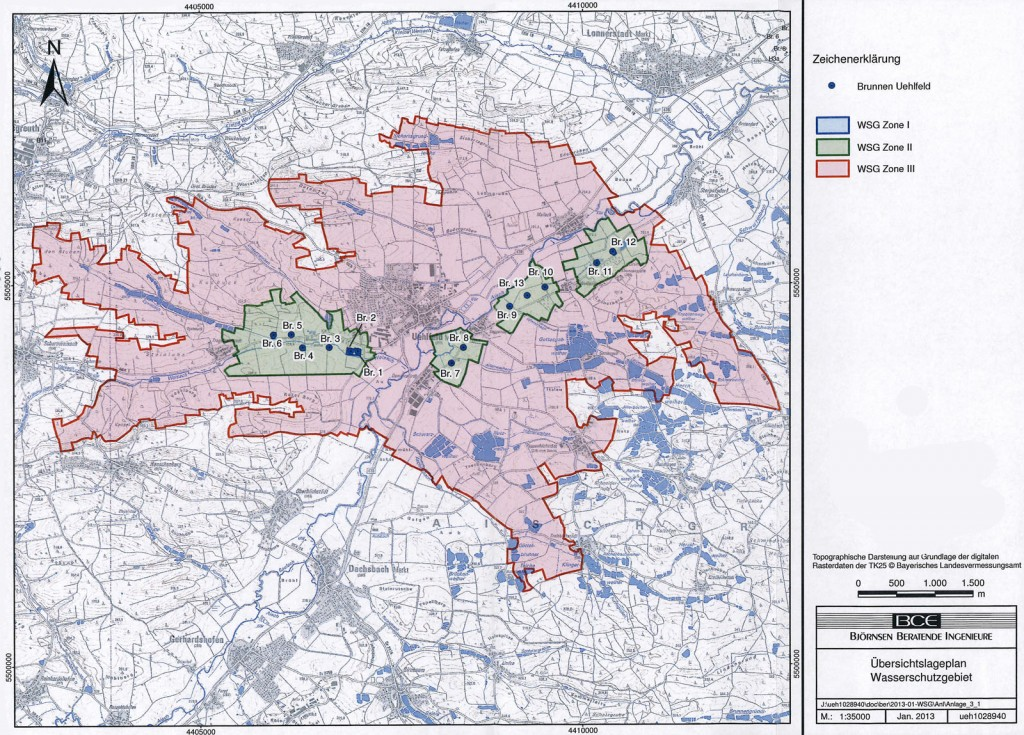Wasserschutzgebiet Uehlfeld - Übersichtskarte